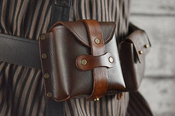 Single Steampunk Leather Belt Pouch Accessory