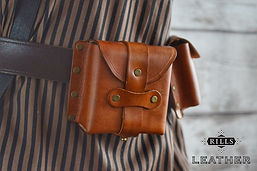 Sinlge Leather Belt Pouch Ammo Steampunk Accessory