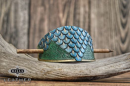 Blue and Green Dragonscale Mermaid Fantasy Leather Hair Barrette