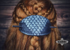 Handmade silver Dragonscale stamped leather hair stick barrette