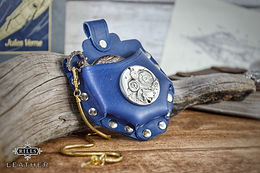 Blue Fob Watch Compass Belt Pouch Steampunk Costume Accessory