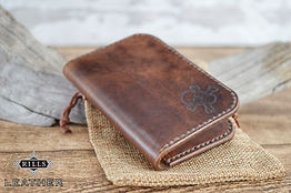 Hand Stitched Leather Card Wallet Pirate Themed Skull and Crossbones