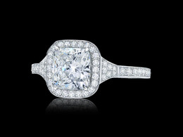 Plate Motif Cushion Diamond Ring