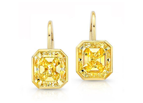 Emerald Cut Yellow Diamond Earrings