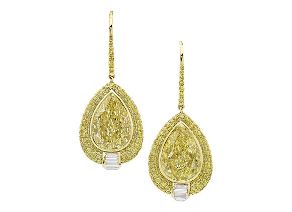 Yellow Diamond Pear Shaped Earrings
