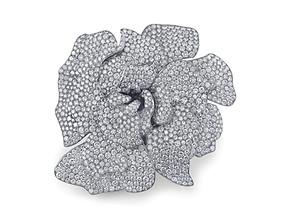 White Diamond Gardenia Pin