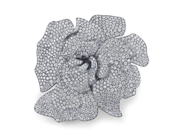 White Diamond Gardenia Pin