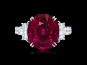 Vivid Red Oval Ruby Ring