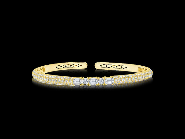 White Diamond Clip-On Bangle - 18kt Yellow Gold