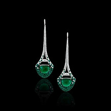 Eiffel Tower Emerald Cabochon Earrings