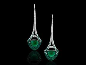 Eiffel Tower Emerald Cabochon Earrings
