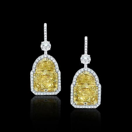 Radiant and Half Moon Yellow Diamond Earrings