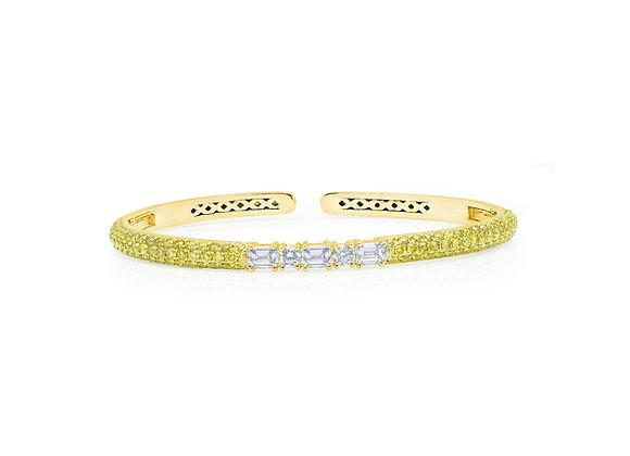 Yellow Diamond Clip-On Bangle - 18kt Yellow Gold