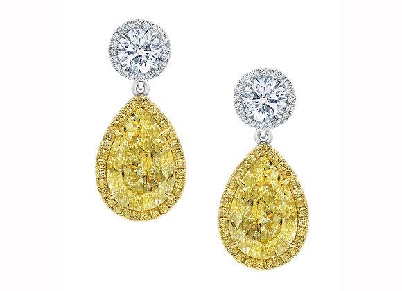Yellow & White Pear Shaped Diamond Earrings
