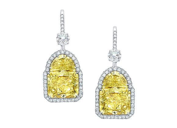 Radiant & Half Moon Yellow Diamond Earrings