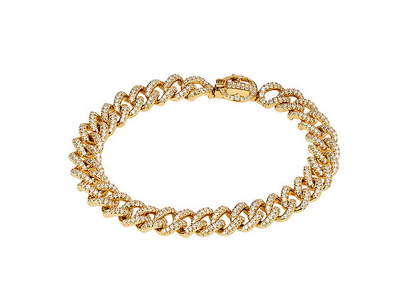 Pave' Link Bracelet in Yellow Gold