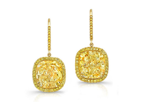 Microset Cushion Yellow Diamond Earrings