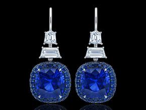 Blue Sapphire Cushion Drop Earrings