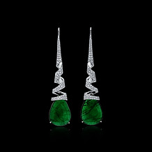 Emerald Drop Spiral Earrings