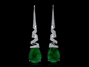 Emerald and Diamond Spiral Earrings