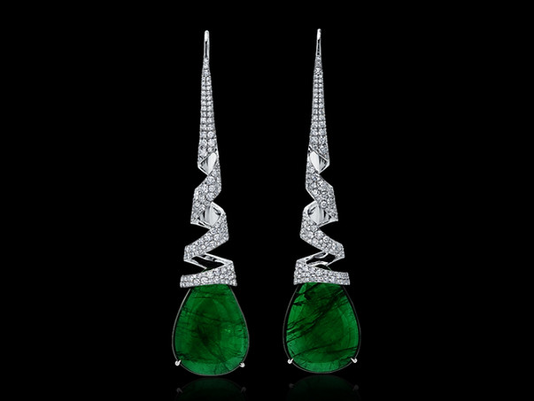 Emerald and Diamond Spiral Earrings