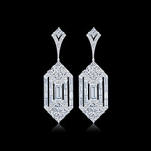 Geometric Deco Inspired Diamond Earrings