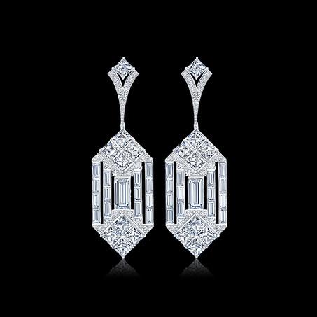 Geometric Deco Inspired Diamond Earrings