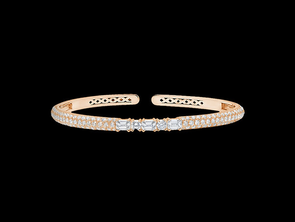 White Diamond Clip-On Bangle - 18kt Rose Gold