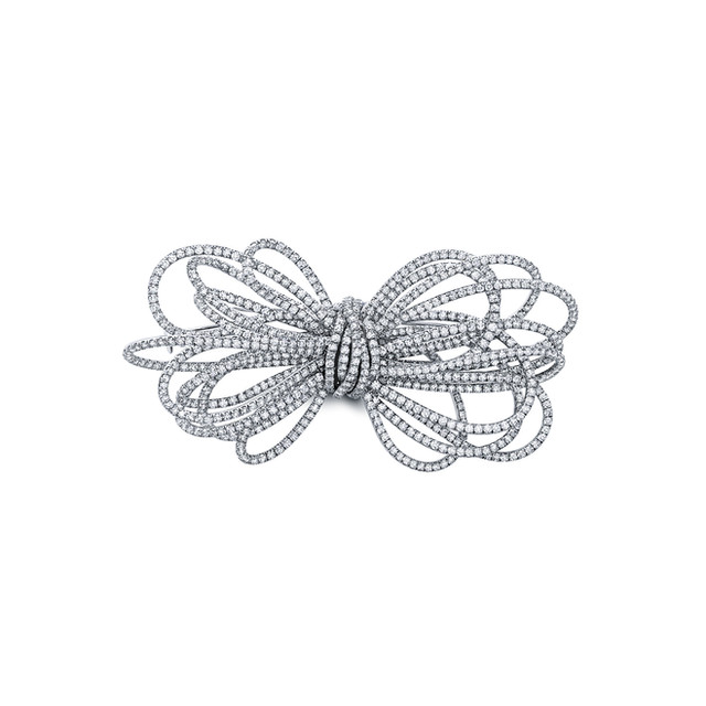 Small White Diamond Bow Pin