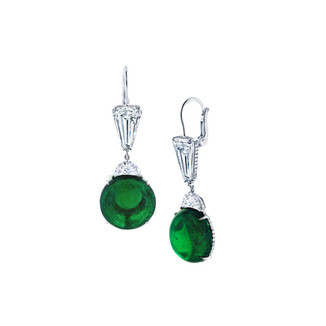 Round Emerald Cabachon Earrings