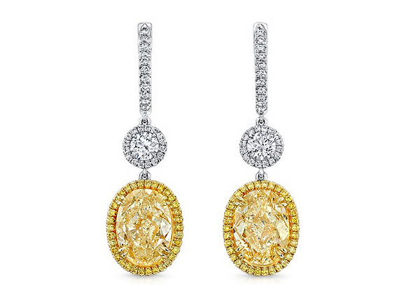 Fancy Oval Yellow Diamond Earrings