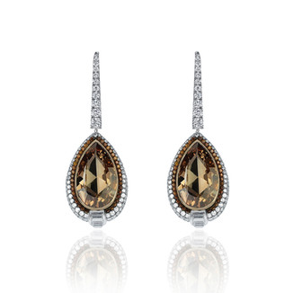 Pear Shaped Cognac Diamond Earrings