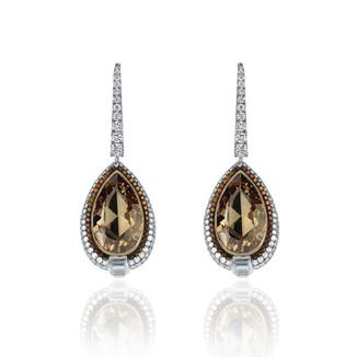 Pear Shaped Cognac Diamond Earrings