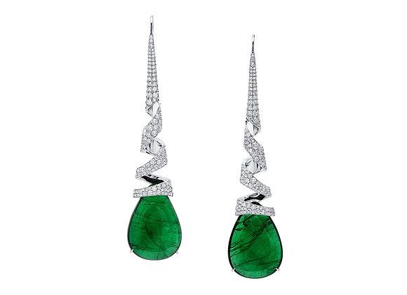 Emerald Spiral Earrings