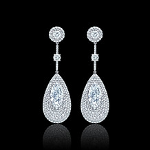 Marquise Diamond Paddle Shaped Earrings
