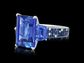 Emerald Cut Blue Sapphire Ring