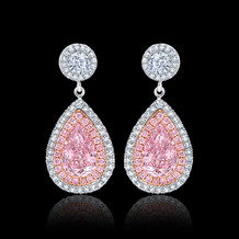 Fancy Intense Pink Pear Shaped Diamond Earrings