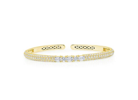 White Diamond Clip-On Bangle - 18kt Yellow Gold