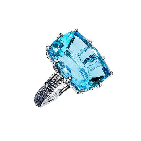 Santa Maria Aquamarine Rectangle & Diamond Ring