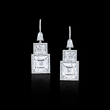 Geometric Carre Diamond Drop Earrings