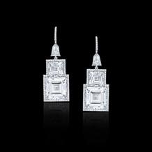 Geometric Carre Diamond Drop Earrings