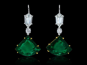 Emerald Kite Fan Drop Earrings