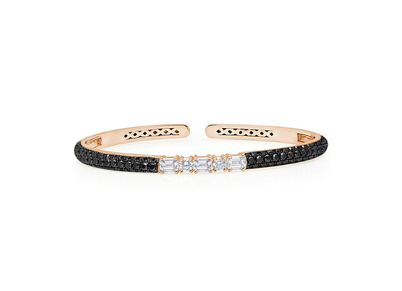 Black Diamond Clip-On Bangle - 18kt Rose Gold