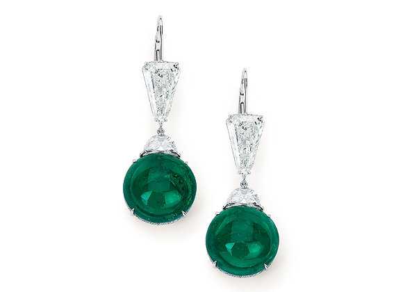 Round Emerald Cabochon Earrings