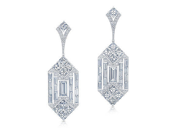 Mixed Shape Geometric Diamond Earrings