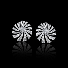 Diamond Pave Pinwheel Swirl Earrings