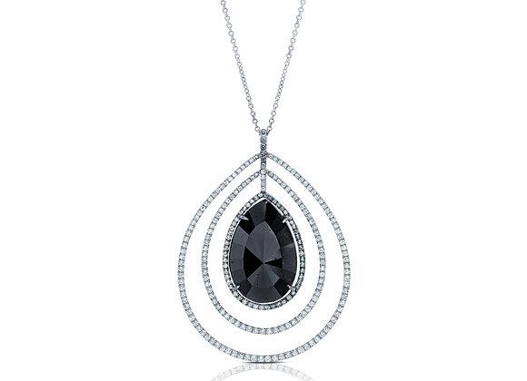 Pear Shaped Black Diamond Pendant