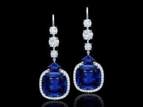 Vivid Blue Cushion Sapphire Earrings