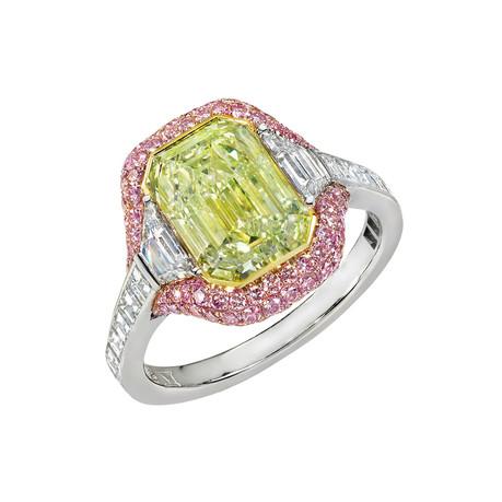 Emerald-Cut Yellow-Green Diamond & Pink Microset Ring