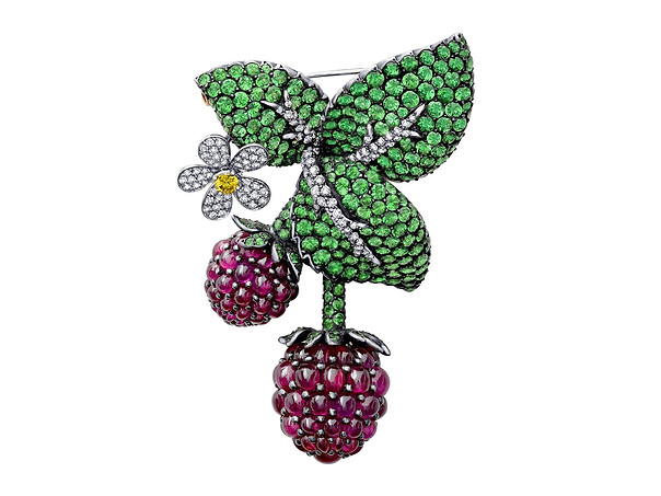 Strawberry and Flower Pin